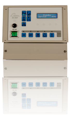AS3037IT cooling tower controller with conductivity meter. Extendable with temperature input, two programmable outputs and circulation pump controlling