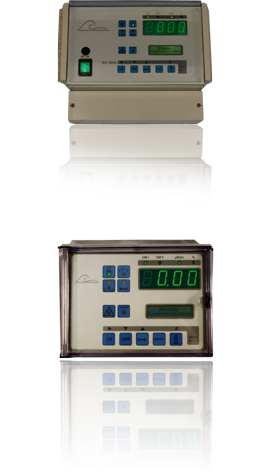 AS3050/3051 a wall mounted cooling tower controller equipped with a conductivity meter, an optional second conductivity meter and temperature gauge and circuit board with two recorder outputs